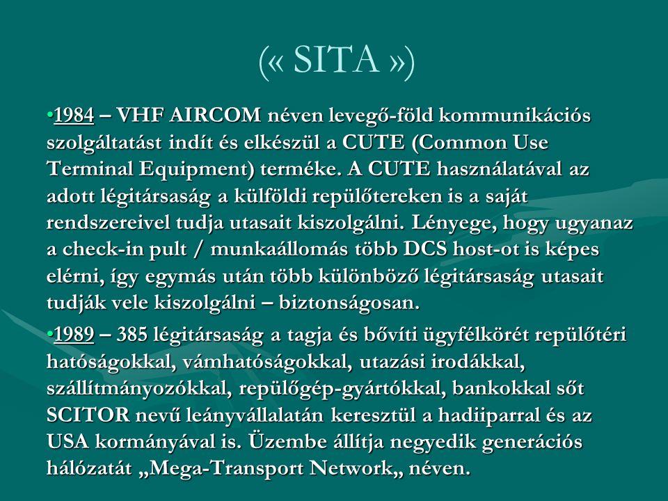 (« SITA ») 1995 – Értéknövelt adatfeldolgozó és telekommunikációs szolgáltatásokat nyújt több mint 400 multinacionális vállalatnak a nak szektrotól a hajózásig, 5 United Nations ügynökségnek, az Interpol-nak, és sok kormányhivatlnak.