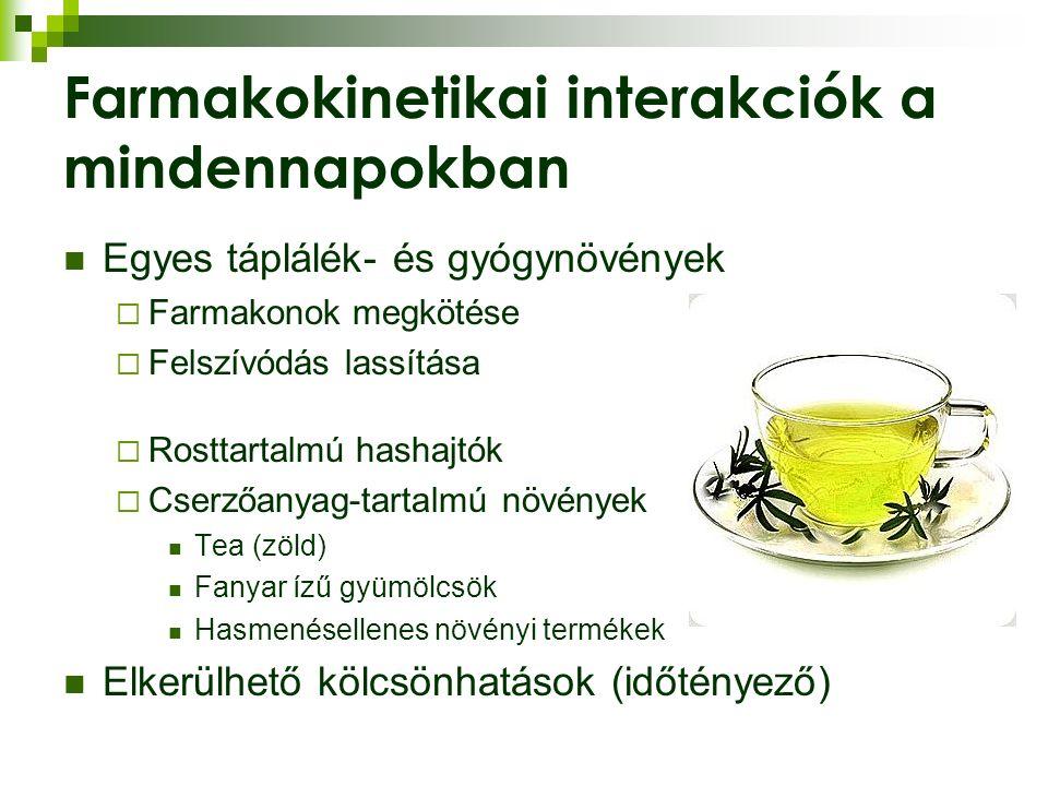 Farmakokinetikai interakciók a mindennapokban Egyes táplálék- és gyógynövények  Farmakonok megkötése  Felszívódás lassítása  Rosttartalmú hashajtók  Cserzőanyag-tartalmú növények Tea (zöld) Fanyar ízű gyümölcsök Hasmenésellenes növényi termékek Elkerülhető kölcsönhatások (időtényező)