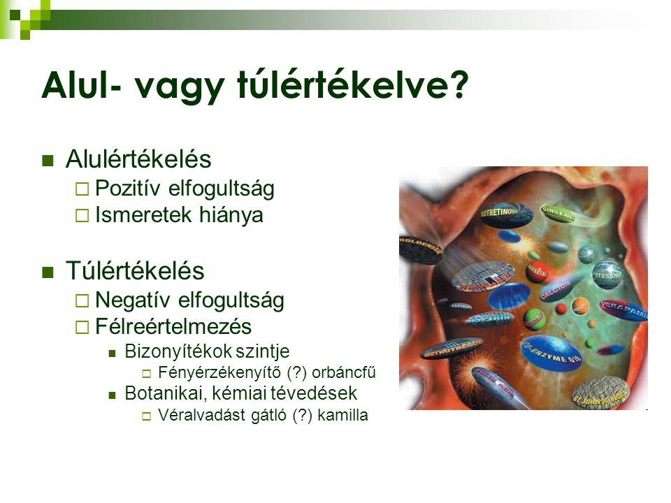 """Farmakodinámiás interakciók A """"warfarin-dosszié  Páfrányfenyő (Ginkgo biloba): PAF-antagonizmus  Fokhagyma (Allium sativum): trombociataggregáció-gátlás (> 5 g/nap)  Gyömbér (Zingiber officinale): trombocitaaggregáció-gátlás (> 4 g/nap)"""