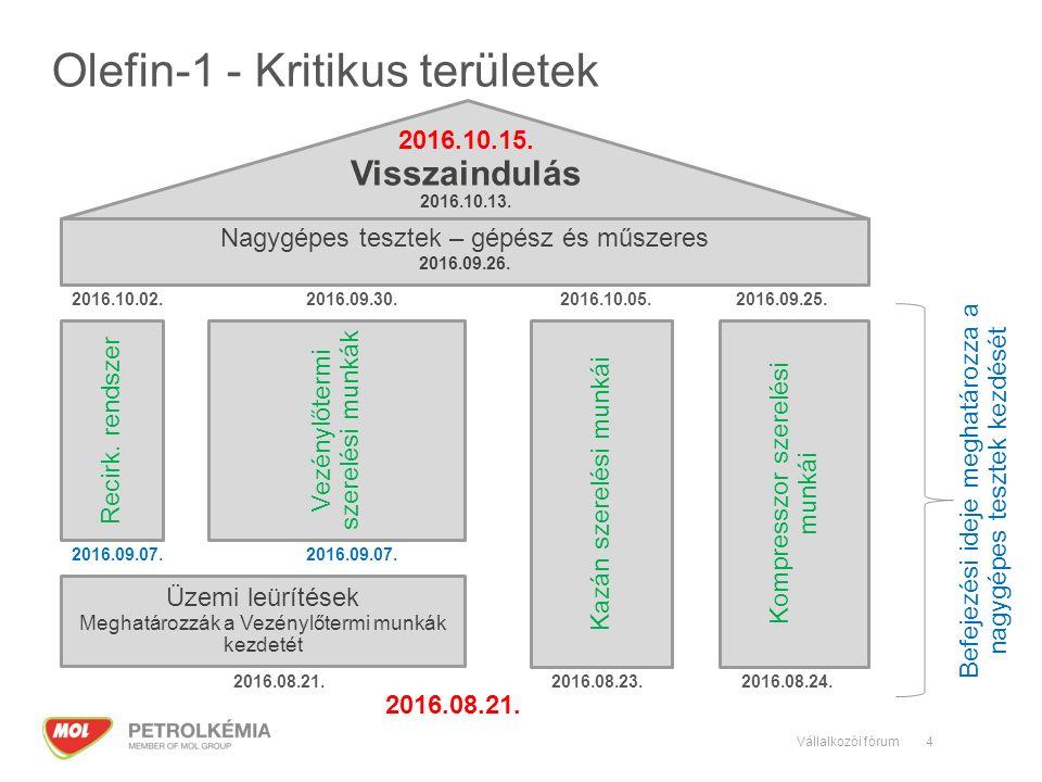4 Olefin-1 - Kritikus területek Üzemi leürítések Meghatározzák a Vezénylőtermi munkák kezdetét Kazán szerelési munkái Recirk.
