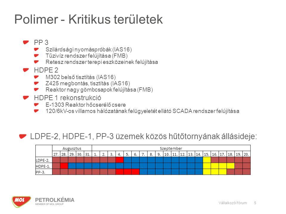 5 Polimer - Kritikus területek LDPE-2, HDPE-1, PP-3 üzemek közös hűtőtornyának állásideje: AugusztusSzeptember 27.28.29.30.31.1.2.3.4.5.6.7.8.9.10.11.12.13.14.15.16.17.18.19.20.