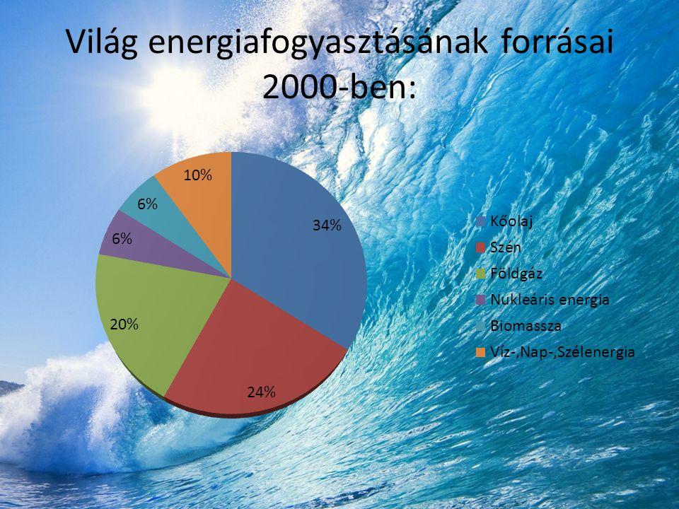 Világ energiafogyasztásának forrásai 2000-ben: