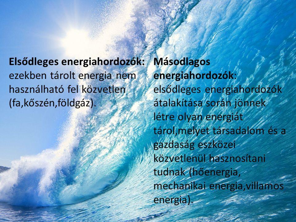 Elsődleges energiahordozók: ezekben tárolt energia nem használható fel közvetlen (fa,kőszén,földgáz). Másodlagos energiahordozók: elsődleges energiaho