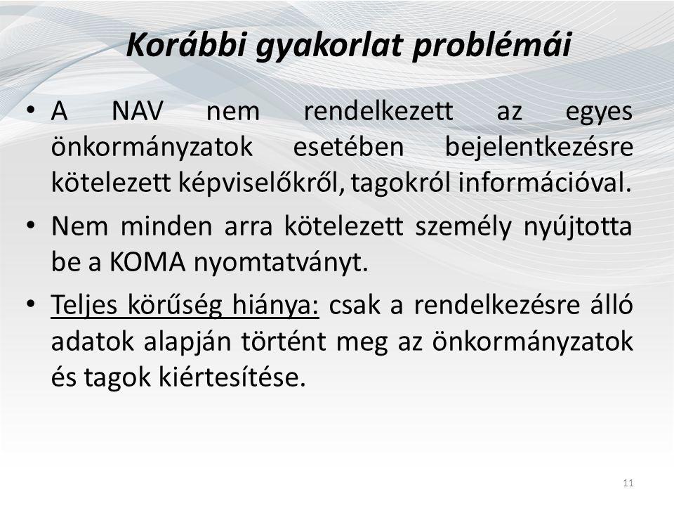 Korábbi gyakorlat problémái A NAV nem rendelkezett az egyes önkormányzatok esetében bejelentkezésre kötelezett képviselőkről, tagokról információval.