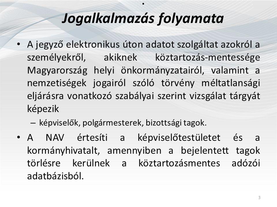 : Jogalkalmazás folyamata A jegyző elektronikus úton adatot szolgáltat azokról a személyekről, akiknek köztartozás-mentessége Magyarország helyi önkormányzatairól, valamint a nemzetiségek jogairól szóló törvény méltatlansági eljárásra vonatkozó szabályai szerint vizsgálat tárgyát képezik – képviselők, polgármesterek, bizottsági tagok.