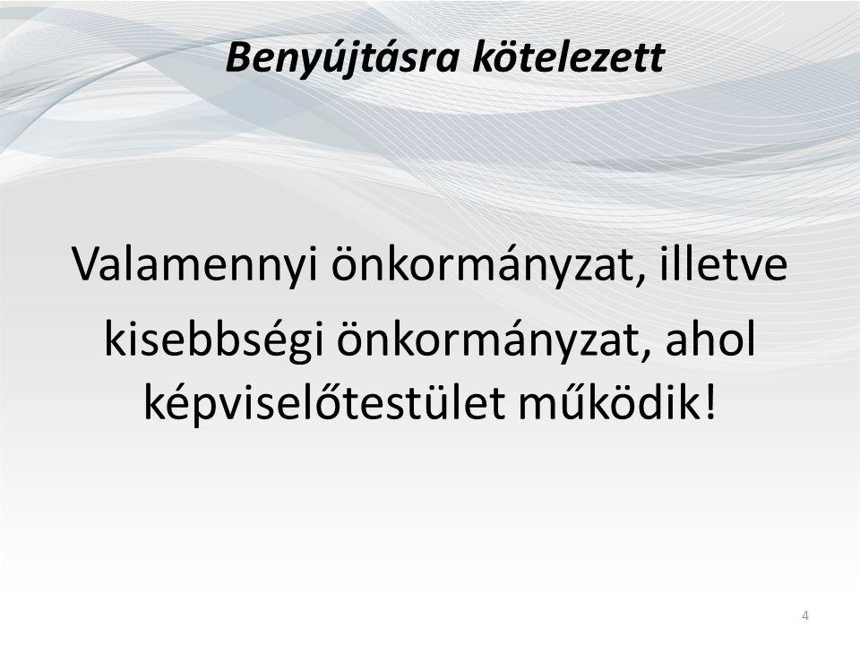 Benyújtásra kötelezett Valamennyi önkormányzat, illetve kisebbségi önkormányzat, ahol képviselőtestület működik.