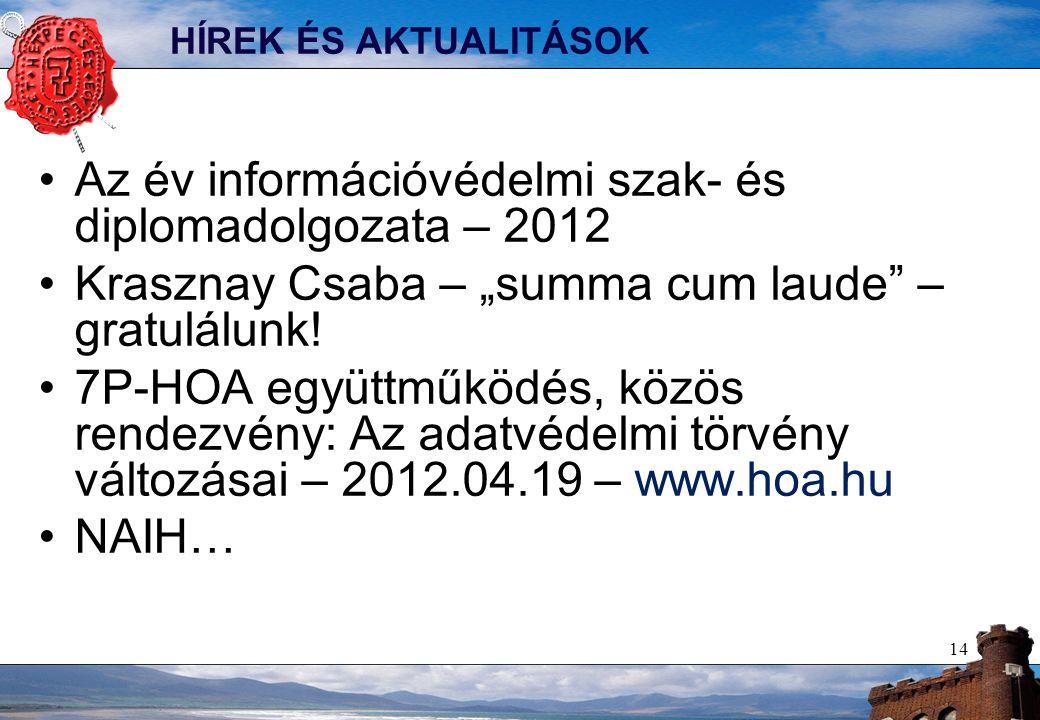 """HÍREK ÉS AKTUALITÁSOK Az év információvédelmi szak- és diplomadolgozata – 2012 Krasznay Csaba – """"summa cum laude – gratulálunk."""