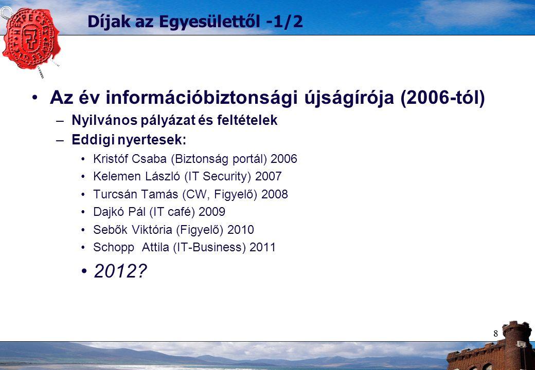 88 Díjak az Egyesülettől -1/2 Az év információbiztonsági újságírója (2006-tól) –Nyilvános pályázat és feltételek –Eddigi nyertesek: Kristóf Csaba (Biztonság portál) 2006 Kelemen László (IT Security) 2007 Turcsán Tamás (CW, Figyelő) 2008 Dajkó Pál (IT café) 2009 Sebők Viktória (Figyelő) 2010 Schopp Attila (IT-Business) 2011 2012