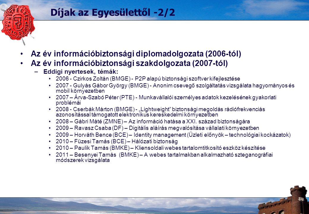 """Díjak az Egyesülettől -2/2 Az év információbiztonsági diplomadolgozata (2006-tól) Az év információbiztonsági szakdolgozata (2007-tól) –Eddigi nyertesek, témák: 2006 - Czirkos Zoltán (BMGE) - P2P alapú biztonsági szoftver kifejlesztése 2007 - Gulyás Gábor György (BMGE) - Anonim csevegő szolgáltatás vizsgálata hagyományos és mobil környezetben 2007 – Árva-Szabó Péter (PTE) - Munkavállalói személyes adatok kezelésének gyakorlati problémái 2008 - Cserbák Márton (BMGE) - """"Lightweight biztonsági megoldás rádiófrekvenciás azonosítással támogatott elektronikus kereskedelmi környezetben 2008 – Gábri Máté (ZMNE) – Az információ hatása a XXI."""