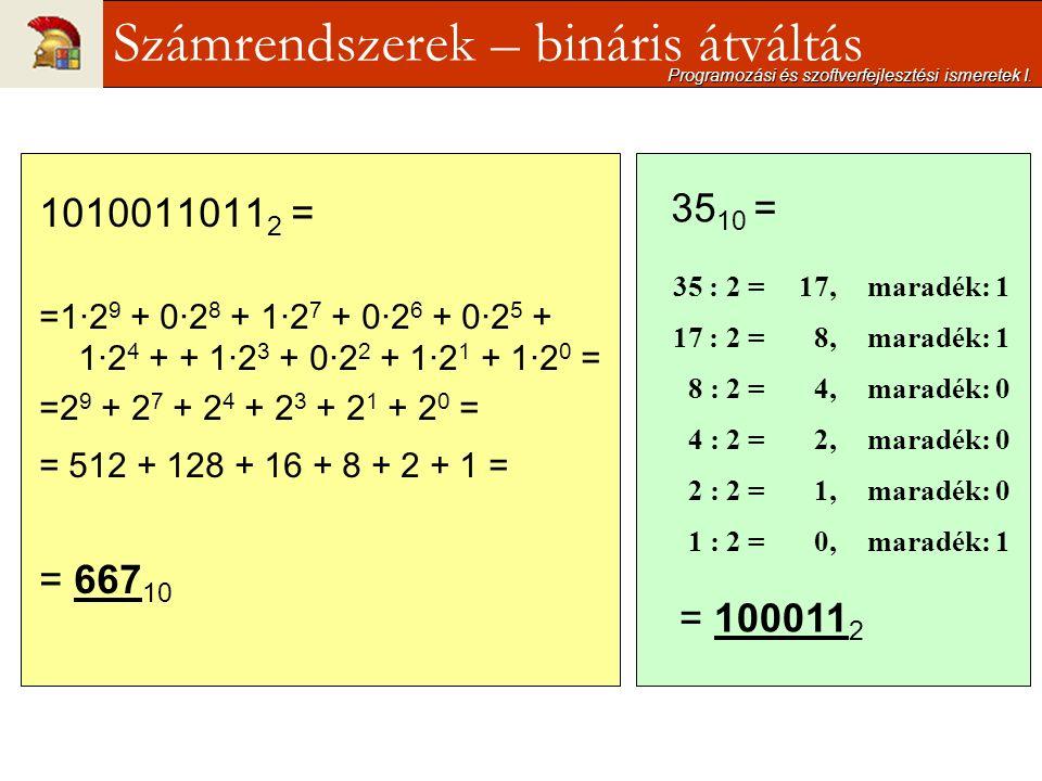 1010011011 2 = =1·2 9 + 0·2 8 + 1·2 7 + 0·2 6 + 0·2 5 + 1·2 4 + + 1·2 3 + 0·2 2 + 1·2 1 + 1·2 0 = =2 9 + 2 7 + 2 4 + 2 3 + 2 1 + 2 0 = = 512 + 128 + 16 + 8 + 2 + 1 = = 667 10 Programozási és szoftverfejlesztési ismeretek I.