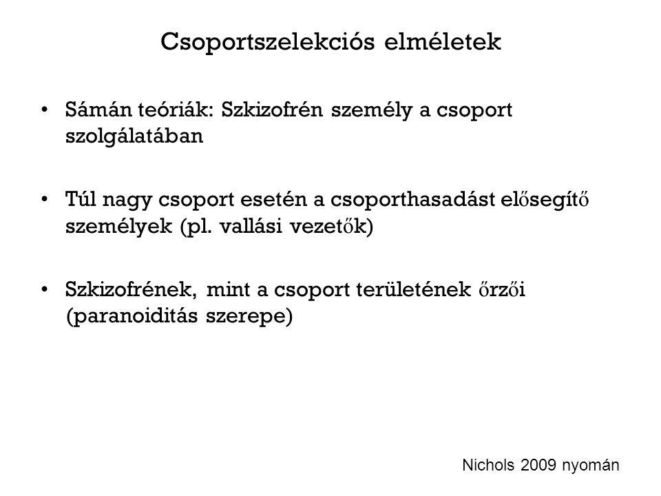 Csoportszelekciós elméletek Sámán teóriák: Szkizofrén személy a csoport szolgálatában Túl nagy csoport esetén a csoporthasadást el ő segít ő személyek (pl.