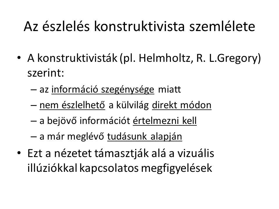 Az észlelés konstruktivista szemlélete A konstruktivisták (pl.
