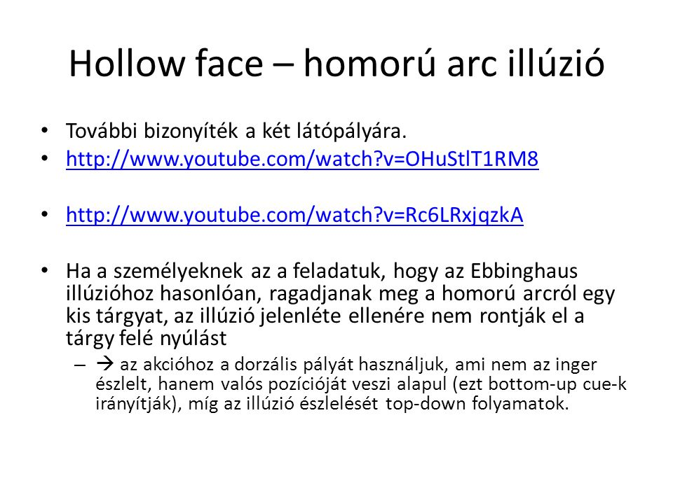 Hollow face – homorú arc illúzió További bizonyíték a két látópályára. http://www.youtube.com/watch?v=OHuStlT1RM8 http://www.youtube.com/watch?v=Rc6LR