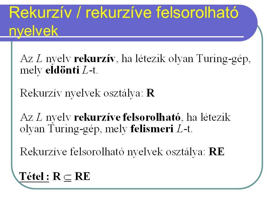 Rekurzív / rekurzíve felsorolható nyelvek