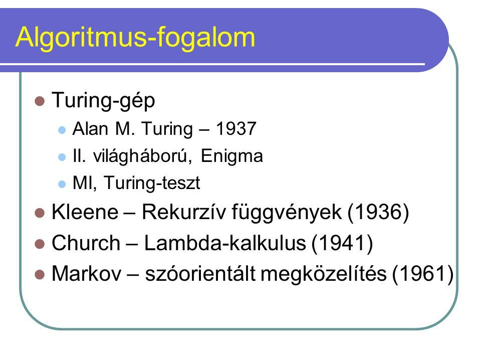 Algoritmus-fogalom Turing-gép Alan M. Turing – 1937 II. világháború, Enigma MI, Turing-teszt Kleene – Rekurzív függvények (1936) Church – Lambda-kalku