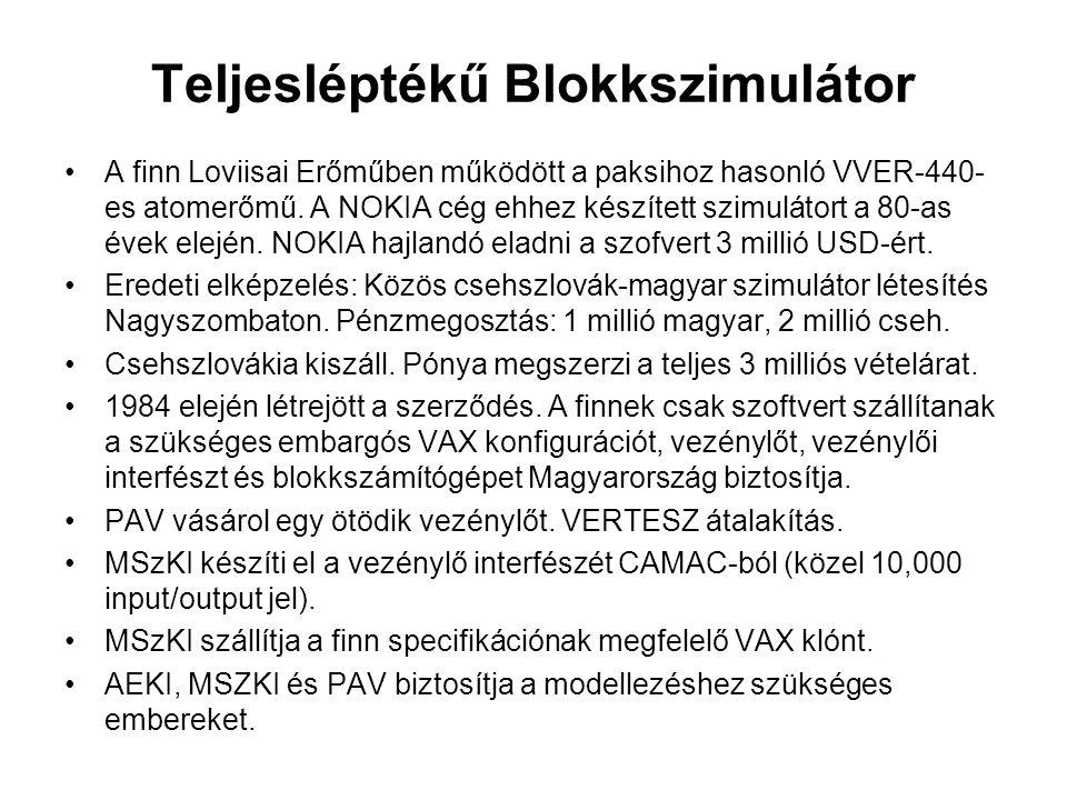 Teljesléptékű Blokkszimulátor A finn Loviisai Erőműben működött a paksihoz hasonló VVER-440- es atomerőmű. A NOKIA cég ehhez készített szimulátort a 8