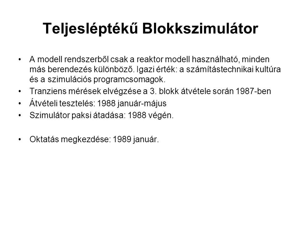 Teljesléptékű Blokkszimulátor A modell rendszerből csak a reaktor modell használható, minden más berendezés különböző. Igazi érték: a számítástechnika