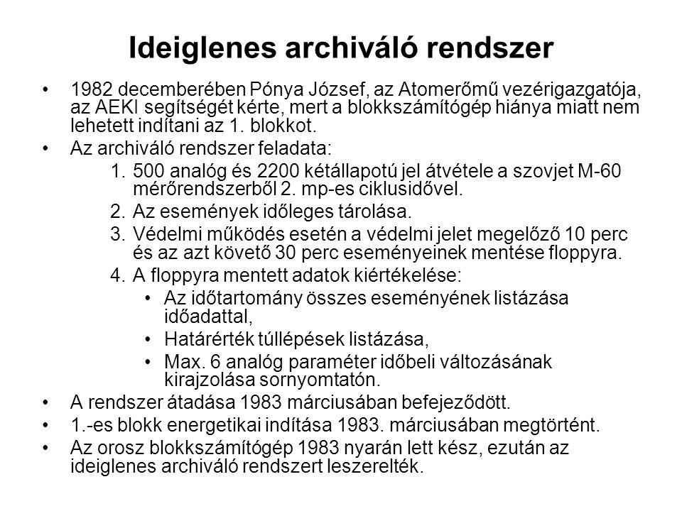Ideiglenes archiváló rendszer 1982 decemberében Pónya József, az Atomerőmű vezérigazgatója, az AEKI segítségét kérte, mert a blokkszámítógép hiánya miatt nem lehetett indítani az 1.