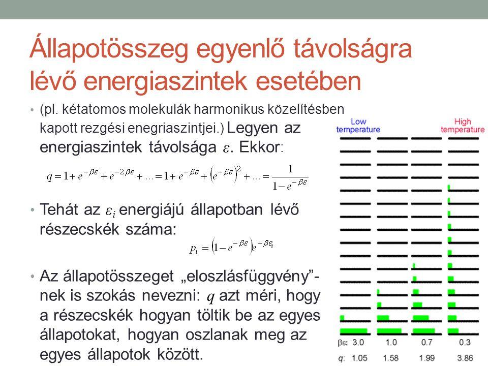 Állapotösszeg egyenlő távolságra lévő energiaszintek esetében (pl.