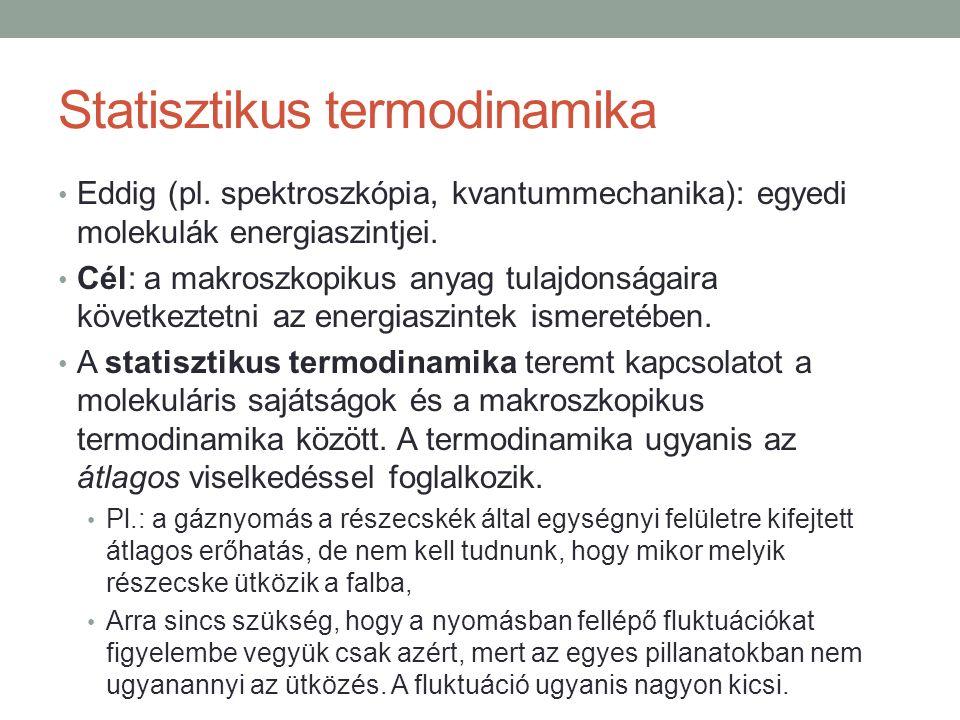 Statisztikus termodinamika Eddig (pl.