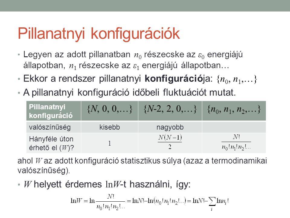 Pillanatnyi konfigurációk Legyen az adott pillanatban n 0 részecske az ε 0 energiájú állapotban, n 1 részecske az ε 1 energiájú állapotban… Ekkor a rendszer pillanatnyi konfigurációja: {n 0, n 1,…} A pillanatnyi konfiguráció időbeli fluktuációt mutat.