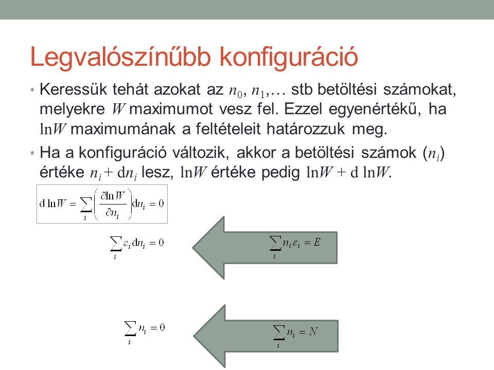 Legvalószínűbb konfiguráció Keressük tehát azokat az n 0, n 1,… stb betöltési számokat, melyekre W maximumot vesz fel.