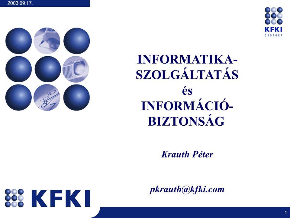 2003.09.17. 1 INFORMATIKA- SZOLGÁLTATÁS és INFORMÁCIÓ- BIZTONSÁG Krauth Péter pkrauth@kfki.com