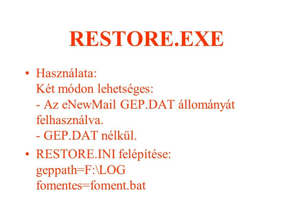 DELATTR.EXE Használata: DELATTR.EXE PARAMÉTER A paraméterben megadott könyvtárban lévő full.txt-ben lévő összes állomány attribútumát törli.