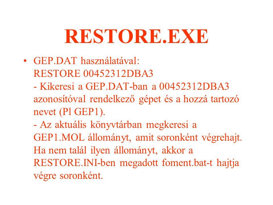 RESTORE.EXE Használata: Két módon lehetséges: - Az eNewMail GEP.DAT állományát felhasználva.
