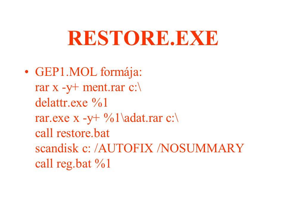 RESTORE.EXE GEP.DAT használata nélkül: RESTORE 00452312DBA3 - Az aktuális könyvtárban megkeresi a 0452312D.BA3 állományt, amit soronként végrehajt.