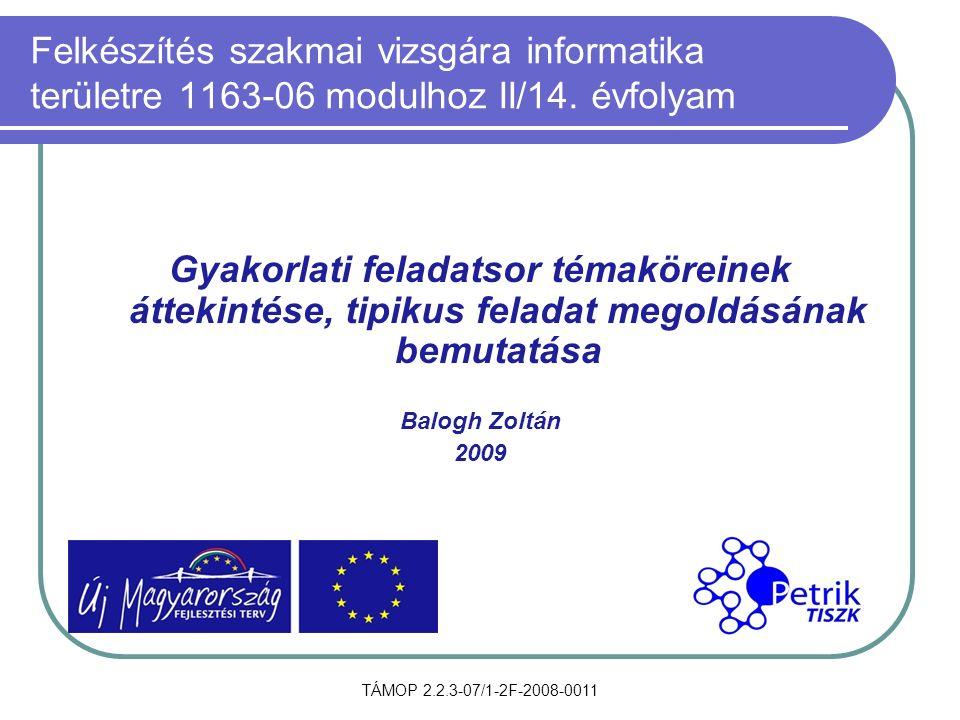 TÁMOP 2.2.3-07/1-2F-2008-0011 Felkészítés szakmai vizsgára informatika területre 1163-06 modulhoz II/14. évfolyam Gyakorlati feladatsor témaköreinek á