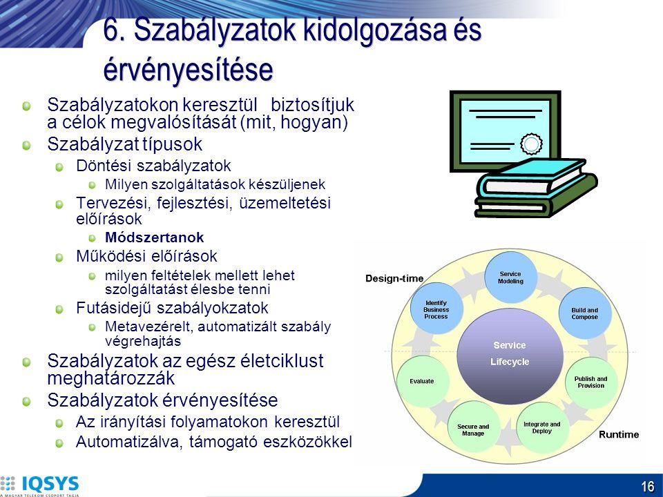 16 6. Szabályzatok kidolgozása és érvényesítése Szabályzatokon keresztül biztosítjuk a célok megvalósítását (mit, hogyan) Szabályzat típusok Döntési s