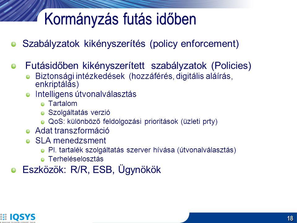 18 Kormányzás futás időben Szabályzatok kikényszerítés (policy enforcement) Futásidőben kikényszerített szabályzatok (Policies) Biztonsági intézkedések (hozzáférés, digitális aláírás, enkriptálás) Intelligens útvonalválasztás Tartalom Szolgáltatás verzió QoS: különböző feldolgozási prioritások (üzleti prty) Adat transzformáció SLA menedzsment Pl.