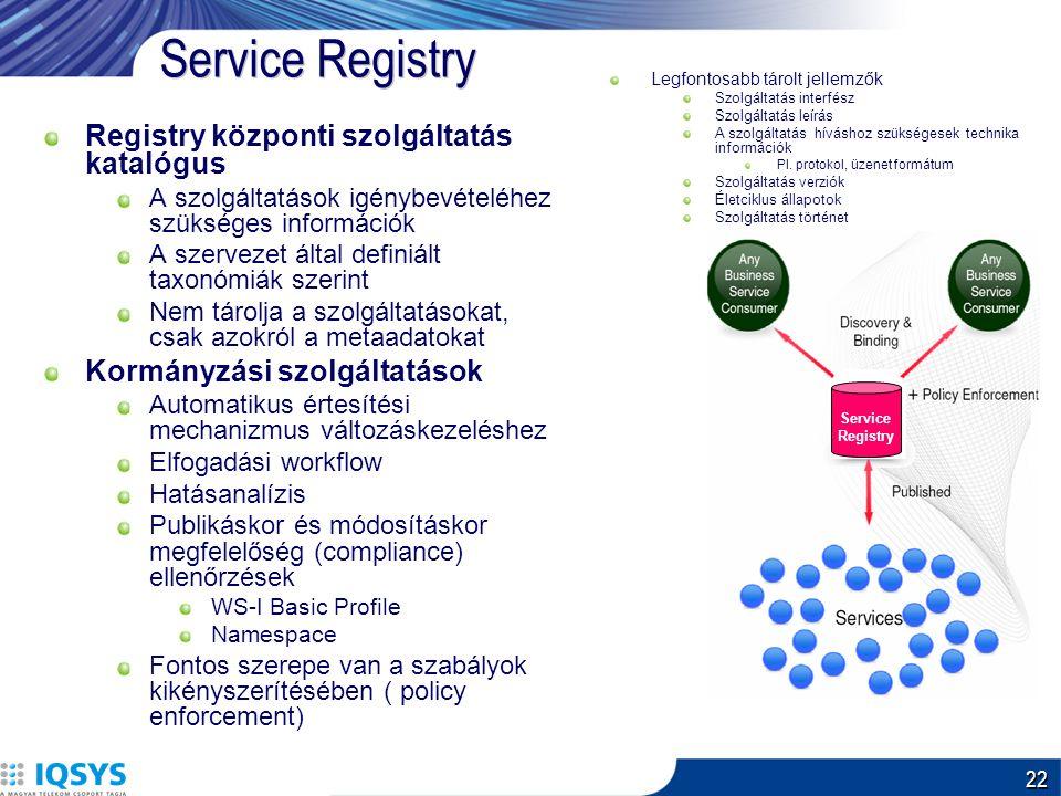22 Service Registry Registry központi szolgáltatás katalógus A szolgáltatások igénybevételéhez szükséges információk A szervezet által definiált taxonómiák szerint Nem tárolja a szolgáltatásokat, csak azokról a metaadatokat Kormányzási szolgáltatások Automatikus értesítési mechanizmus változáskezeléshez Elfogadási workflow Hatásanalízis Publikáskor és módosításkor megfelelőség (compliance) ellenőrzések WS-I Basic Profile Namespace Fontos szerepe van a szabályok kikényszerítésében ( policy enforcement) Legfontosabb tárolt jellemzők Szolgáltatás interfész Szolgáltatás leírás A szolgáltatás híváshoz szükségesek technika információk Pl.
