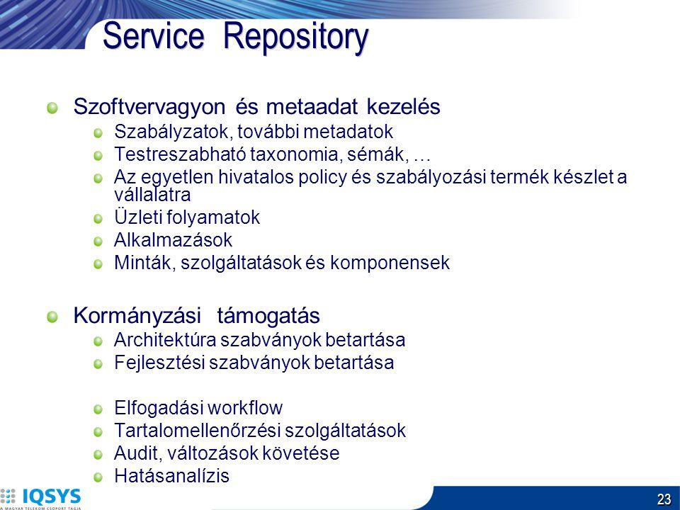23 Service Repository Szoftvervagyon és metaadat kezelés Szabályzatok, további metadatok Testreszabható taxonomia, sémák, … Az egyetlen hivatalos policy és szabályozási termék készlet a vállalatra Üzleti folyamatok Alkalmazások Minták, szolgáltatások és komponensek Kormányzási támogatás Architektúra szabványok betartása Fejlesztési szabványok betartása Elfogadási workflow Tartalomellenőrzési szolgáltatások Audit, változások követése Hatásanalízis