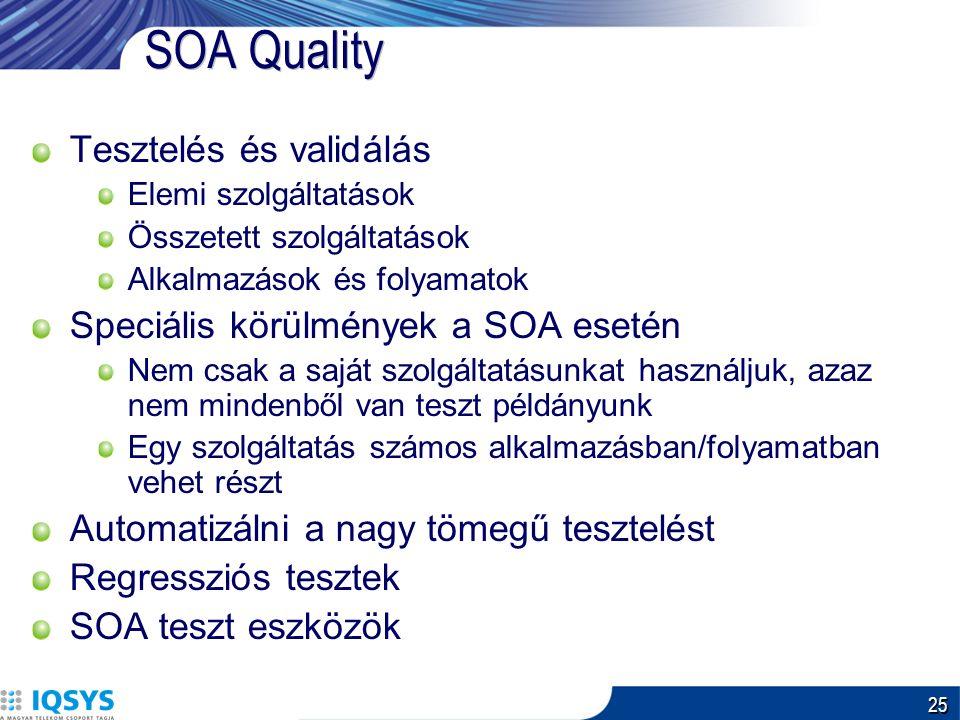 25 SOA Quality Tesztelés és validálás Elemi szolgáltatások Összetett szolgáltatások Alkalmazások és folyamatok Speciális körülmények a SOA esetén Nem csak a saját szolgáltatásunkat használjuk, azaz nem mindenből van teszt példányunk Egy szolgáltatás számos alkalmazásban/folyamatban vehet részt Automatizálni a nagy tömegű tesztelést Regressziós tesztek SOA teszt eszközök