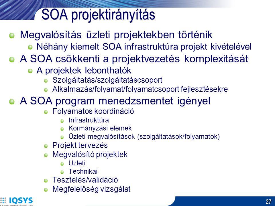 27 SOA projektirányítás Megvalósítás üzleti projektekben történik Néhány kiemelt SOA infrastruktúra projekt kivételével A SOA csökkenti a projektvezetés komplexitását A projektek lebonthatók Szolgáltatás/szolgáltatáscsoport Alkalmazás/folyamat/folyamatcsoport fejlesztésekre A SOA program menedzsmentet igényel Folyamatos koordináció Infrastruktúra Kormányzási elemek Üzleti megvalósítások (szolgáltatások/folyamatok) Projekt tervezés Megvalósító projektek Üzleti Technikai Tesztelés/validáció Megfelelőség vizsgálat