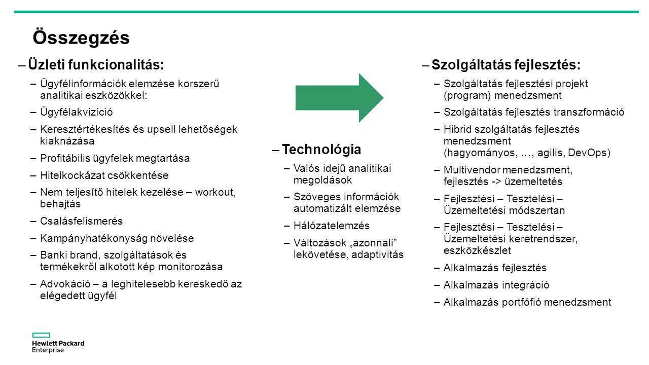 """Összegzés –Üzleti funkcionalitás: –Ügyfélinformációk elemzése korszerű analitikai eszközökkel: –Ügyfélakvizíció –Keresztértékesítés és upsell lehetőségek kiaknázása –Profitábilis ügyfelek megtartása –Hitelkockázat csökkentése –Nem teljesítő hitelek kezelése – workout, behajtás –Csalásfelismerés –Kampányhatékonyság növelése –Banki brand, szolgáltatások és termékekről alkotott kép monitorozása –Advokáció – a leghitelesebb kereskedő az elégedett ügyfél –Szolgáltatás fejlesztés: –Szolgáltatás fejlesztési projekt (program) menedzsment –Szolgáltatás fejlesztés transzformáció –Hibrid szolgáltatás fejlesztés menedzsment (hagyományos, …, agilis, DevOps) –Multivendor menedzsment, fejlesztés -> üzemeltetés –Fejlesztési – Tesztelési – Üzemeltetési módszertan –Fejlesztési – Tesztelési – Üzemeltetési keretrendszer, eszközkészlet –Alkalmazás fejlesztés –Alkalmazás integráció –Alkalmazás portfófió menedzsment –Technológia –Valós idejű analitikai megoldások –Szöveges információk automatizált elemzése –Hálózatelemzés –Változások """"azonnali lekövetése, adaptivitás"""