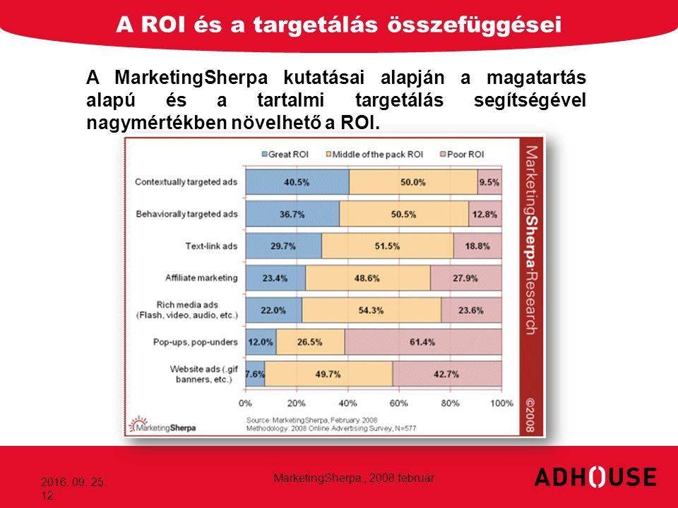 A ROI és a targetálás összefüggései 2016. 09. 25. 12 A MarketingSherpa kutatásai alapján a magatartás alapú és a tartalmi targetálás segítségével nagy