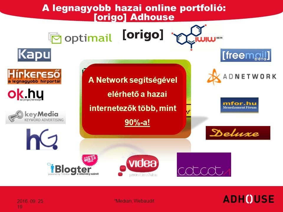2016. 09. 25. 19 A legnagyobb hazai online portfolió: [origo] Adhouse *Median, Webaudit A Network segítségével elérhető a hazai internetezők több, min