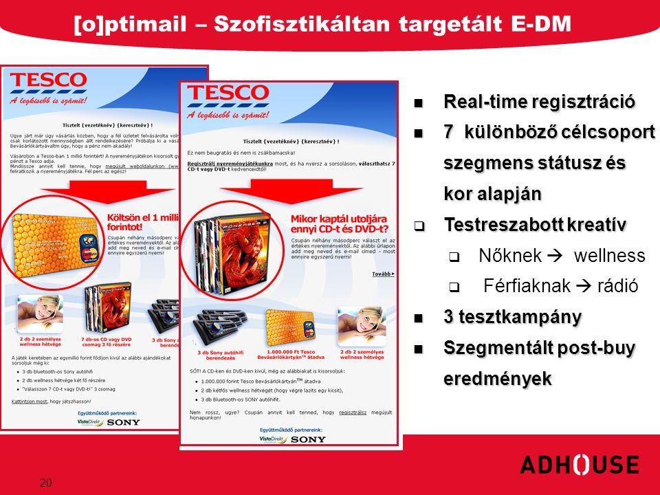 20 [o]ptimail – Szofisztikáltan targetált E-DM Real-time regisztráció Real-time regisztráció 7 különböző célcsoport szegmens státusz és kor alapján 7
