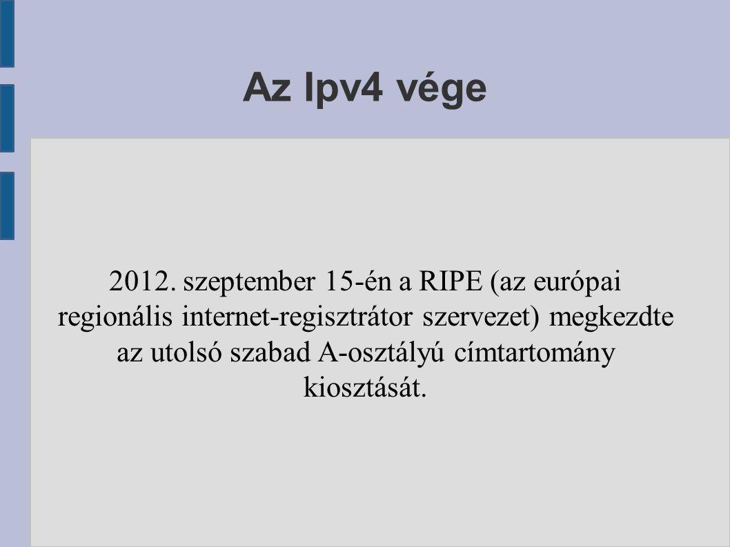 Az Ipv4 vége 2012. szeptember 15-én a RIPE (az európai regionális internet-regisztrátor szervezet) megkezdte az utolsó szabad A-osztályú címtartomány