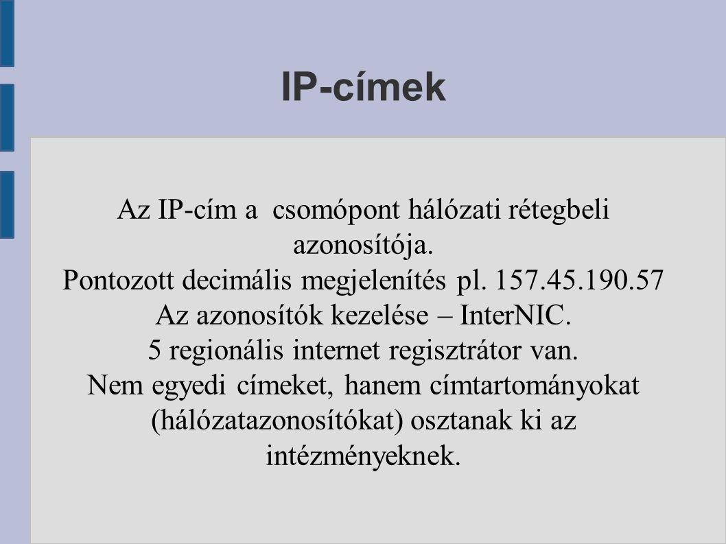 IP-címek Az IP-cím a csomópont hálózati rétegbeli azonosítója. Pontozott decimális megjelenítés pl. 157.45.190.57 Az azonosítók kezelése – InterNIC. 5