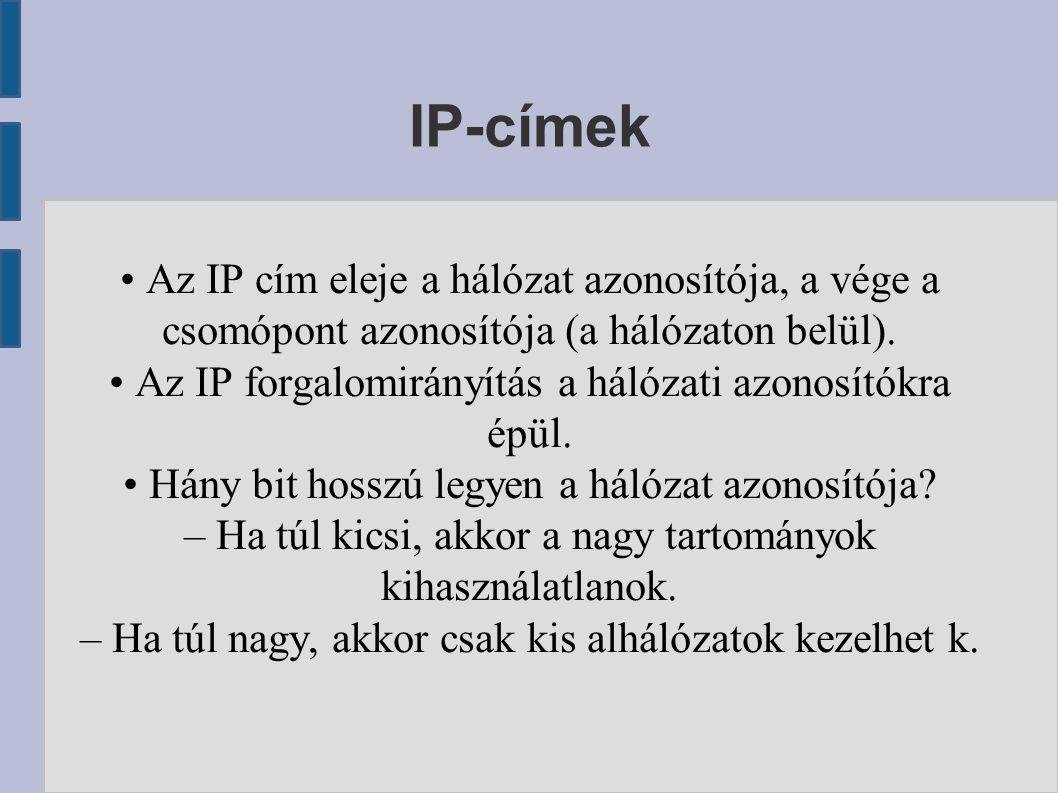 IP-címek Az IP cím eleje a hálózat azonosítója, a vége a csomópont azonosítója (a hálózaton belül). Az IP forgalomirányítás a hálózati azonosítókra ép