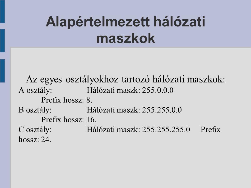 Alapértelmezett hálózati maszkok Az egyes osztályokhoz tartozó hálózati maszkok: A osztály:Hálózati maszk: 255.0.0.0 Prefix hossz: 8. B osztály:Hálóza