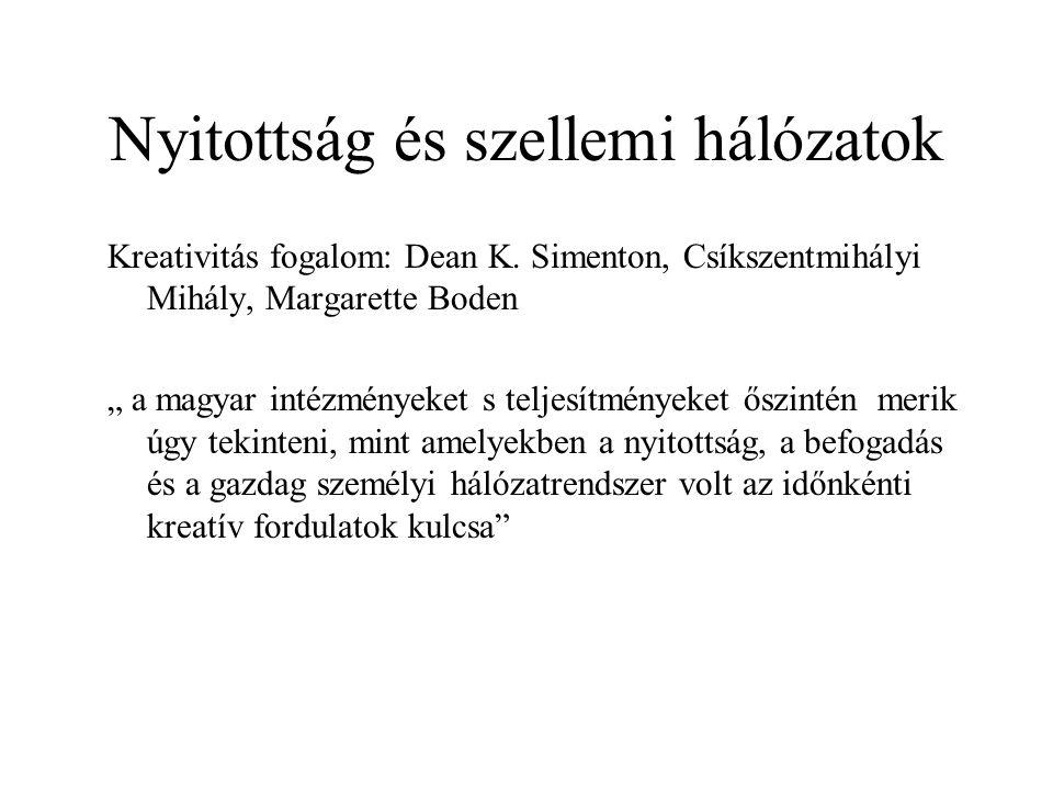 """Nyitottság és szellemi hálózatok Kreativitás fogalom: Dean K. Simenton, Csíkszentmihályi Mihály, Margarette Boden """" a magyar intézményeket s teljesítm"""