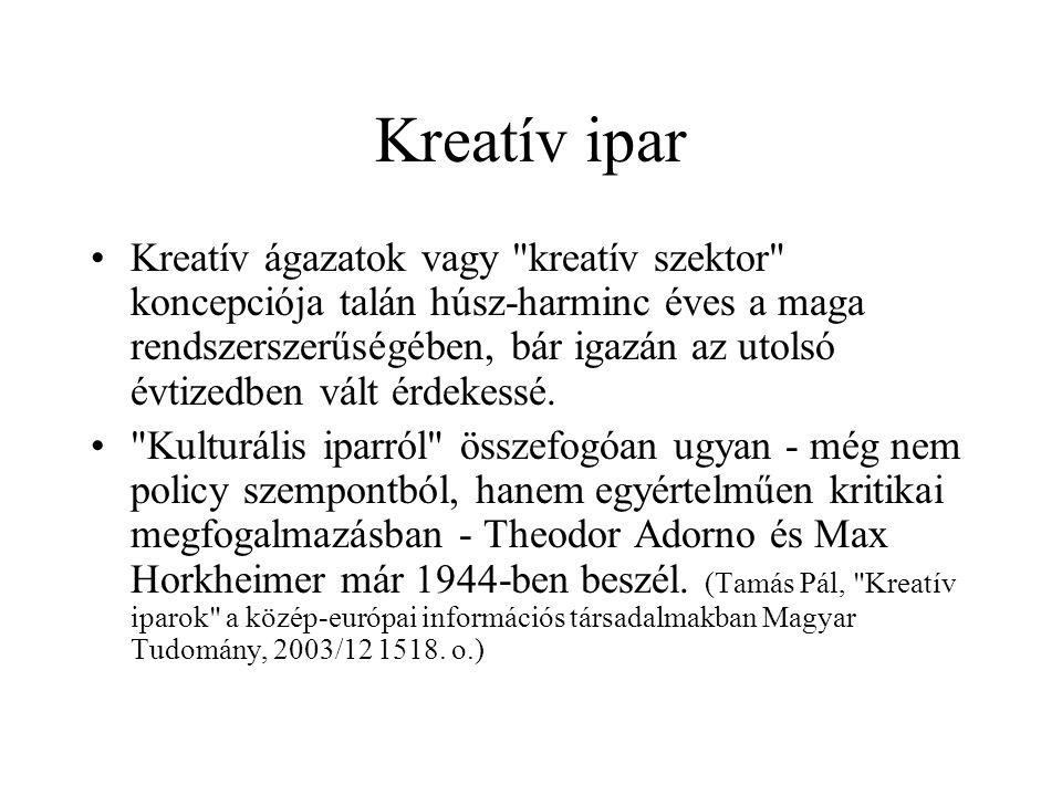 Kreatív ipar Kreatív ágazatok vagy kreatív szektor koncepciója talán húsz-harminc éves a maga rendszerszerűségében, bár igazán az utolsó évtizedben vált érdekessé.