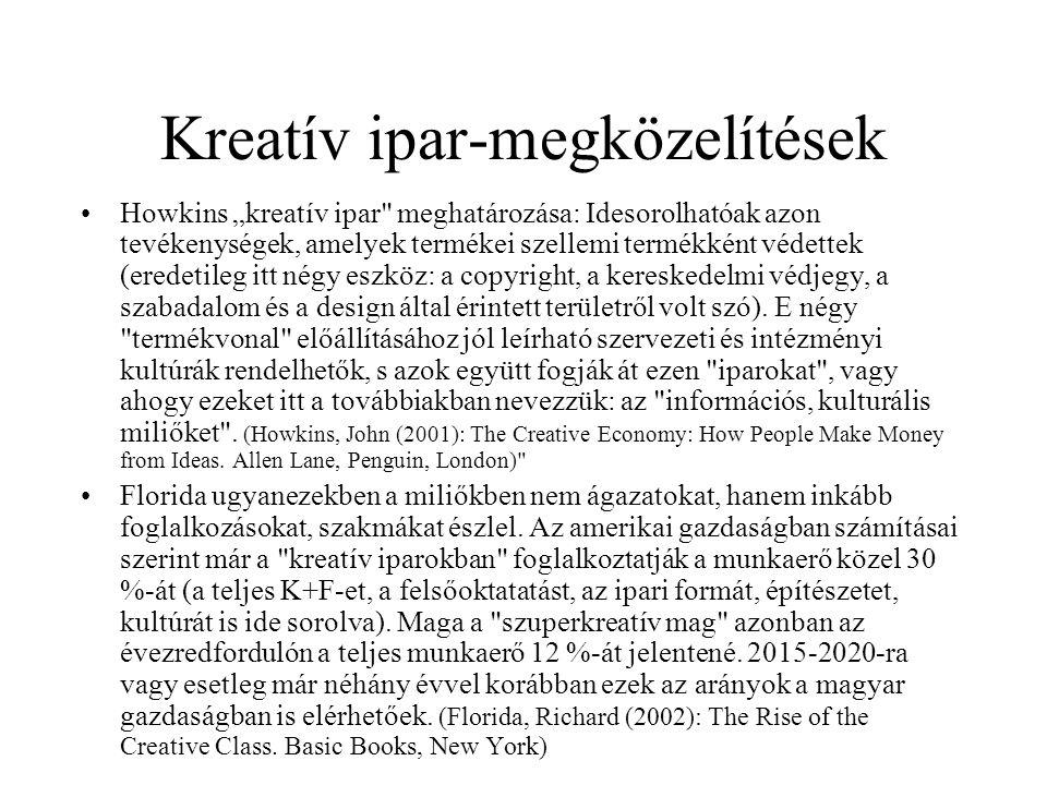 """Kreatív ipar-megközelítések Howkins """"kreatív ipar meghatározása: Idesorolhatóak azon tevékenységek, amelyek termékei szellemi termékként védettek (eredetileg itt négy eszköz: a copyright, a kereskedelmi védjegy, a szabadalom és a design által érintett területről volt szó)."""