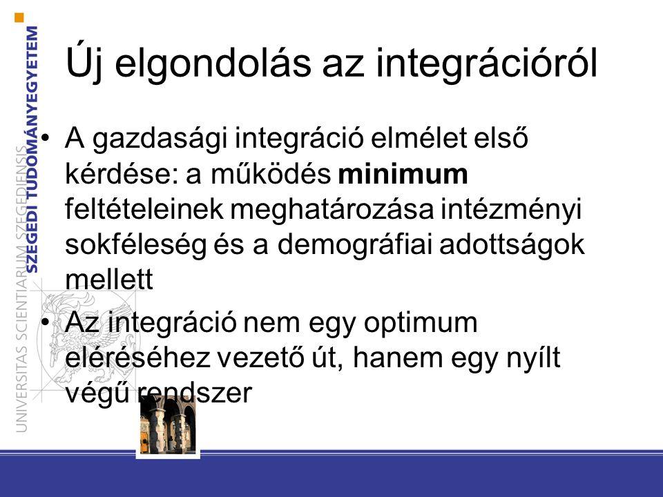 Új elgondolás az integrációról A gazdasági integráció elmélet első kérdése: a működés minimum feltételeinek meghatározása intézményi sokféleség és a demográfiai adottságok mellett Az integráció nem egy optimum eléréséhez vezető út, hanem egy nyílt végű rendszer