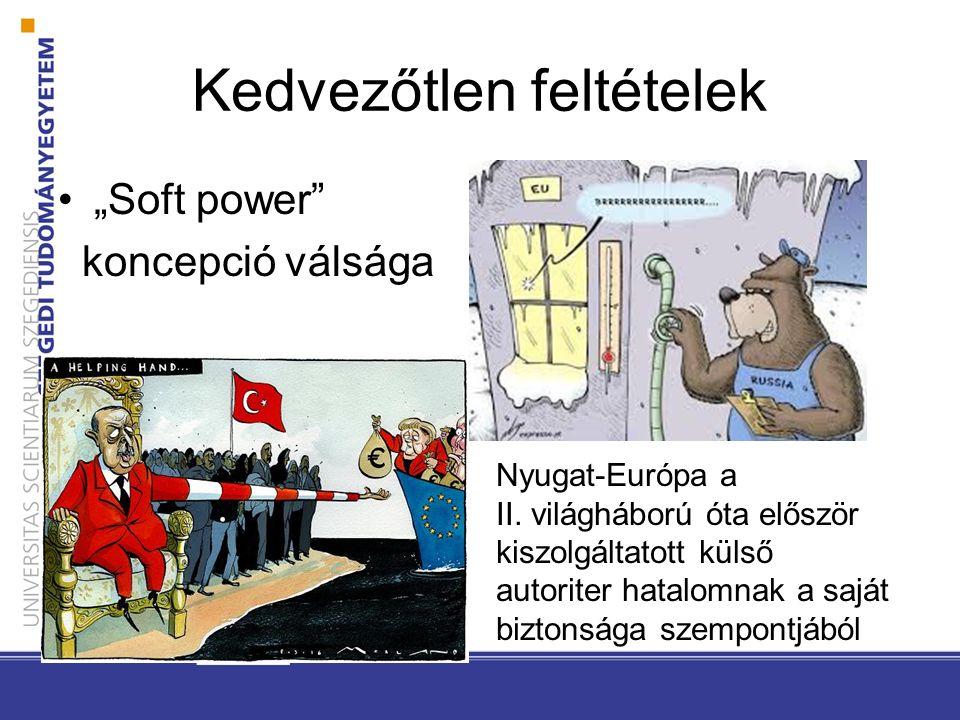 """Kedvezőtlen feltételek """"Soft power"""" koncepció válsága Nyugat-Európa a II. világháború óta először kiszolgáltatott külső autoriter hatalomnak a saját b"""